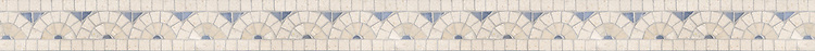 "2 1/2"" Sassafras border, a hand-cut mosaic shown in polished  Ivory Cream, Travertine White, and Celeste by New Ravenna."