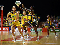 17.10.2012 Australia's Renae Hallinan and South Africa's Bongiwa Msomi in action during the Australia v South Africa netball test match as part of the Quad Series played in Newcastle Australia. Mandatory Photo Credit ©Michael Bradley.