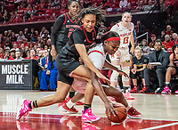 COLLEGE PARK, MD - FEBRUARY 9: Kaila Charles #5 of Maryland and Zipporah Broughton #1 of Rutgers go after a loose ball during a game between Rutgers and Maryland at Xfinity Center on February 9, 2020 in College Park, Maryland.