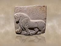 Aslantepe Hittite relief sculpted orthostat stone panel. Limestone, Aslantepe, Malatya, 1200-700 B.C. . Anatolian Civilisations Museum, Ankara, Turkey<br /> Depiction of a horse walking