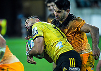 Jaguares captain Jeronimo De La Fuente tackles Hurricanes' Matt Proctor during the Super Rugby match between the Hurricanes and Jaguares at Westpac Stadium in Wellington, New Zealand on Friday, 17 May 2019. Photo: Dave Lintott / lintottphoto.co.nz