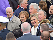 From left to right: former United States President Jimmy Carter, former first lady Rosalyn Carter, former US President Bill Clinton, former US Secretary of State Hillary Rodham Clinton, and former US President George W. Bush attend the ceremony where Donald J. Trump is to be sworn-in as the 45th President of the United States on the West Front of the US Capitol on Friday, January 20, 2017.<br /> Credit: Ron Sachs / CNP<br /> (RESTRICTION: NO New York or New Jersey Newspapers or newspapers within a 75 mile radius of New York City)