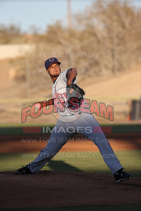 Joshua James (23) of the Lancaster JetHawks pitches against the High Desert Mavericks at Heritage Field on April 23, 2016 in Adelanto, California. High Desert defeated Lancaster, 10-9. (Larry Goren/Four Seam Images)