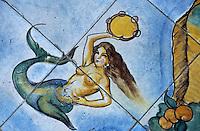 Europe/Italie/Côte Amalfitaine/Campagnie/Ravello : Sol en céramique d'un salon de la Villa Palumbo représentant une sirène