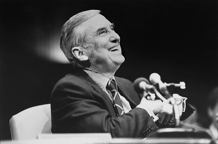 Sen. Lloyd Bentsen, D-Tex., laughs after Chafee inquires about the luxury tax hearing of the Senate Finance Committee on January 14, 1992. (Photo by Laura Patterson/CQ Roll Call)
