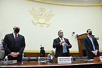 R. Clarke Cooper, Assistant Secretary of State for Political-Military Affairs, Brian Bulatao, Under Secretary of State for Management and Marik String, Acting Legal Adviser for the State Department, (L to R), prepare to testify before a US House Committee on Foreign Affairs hearing looking into the firing of State Department Inspector General Steven Linick, on Capitol Hill in Washington, D.C. on Wednesday, September 16, 2020. <br /> Credit: Kevin Dietsch / Pool via CNP /MediaPunch