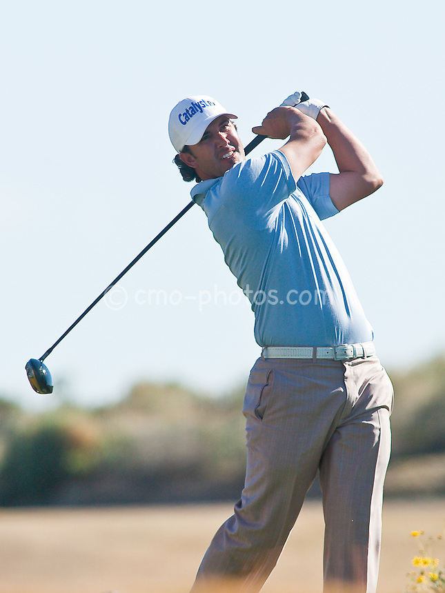 Feb 1, 2009; Scottsdale, AZ, USA; Scott Piercy (USA) hits his tee shot on the 13th hole during the final round of the FBR Open at the TPC Scottsdale.