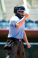 Umpire Chase Eade during a Gulf Coast League game between the GCL Astros and GCL Nationals at Osceola County Stadium on July 20, 2012 in Kissimmee, Florida.  GCL Nationals defeated the GCL Astros 8-7.  (Mike Janes/Four Seam Images)