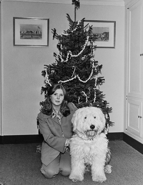 Kassie Benson, Administrative Assistant to Rep. John E. Moss, D-Calif., and Happy O'Neill, her dog, around Christmas. (Photo by Dev O'Neill/CQ Roll Call via Getty Images)