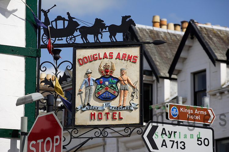 Douglas Arms Hotel sign on King Street Castle Douglas Dumfries and Galloway