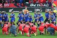 Samoa and Tonga perform their pre-match hakas. Rugby League Rugby World Cup 2017 Pool B match - Samoa v Tonga played at Waikato Stadium, Hamilton, New Zealand on Saturday 4 November  2017.  <br /> <br /> Copyright photo: © Bruce Lim / www.photosport.nz MANDATORY CREDIT/BYLINE : John Cowpland/SWpix.com/PhotosportNZ