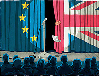 Politician leaving stage through European Union flag and Union Jack theatre curtain