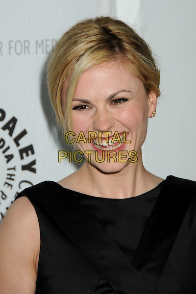 "ANNA PAQUIN.The 26th Annual William S. Paley Television Festival presents ""True Blood"" held at Arclight Cinemas, Hollywood, California, USA..April 13th, 2009.headshot portrait black smiling teeth gap.CAP/ADM/BP.©Byron Purvis/AdMedia/Capital Pictures."