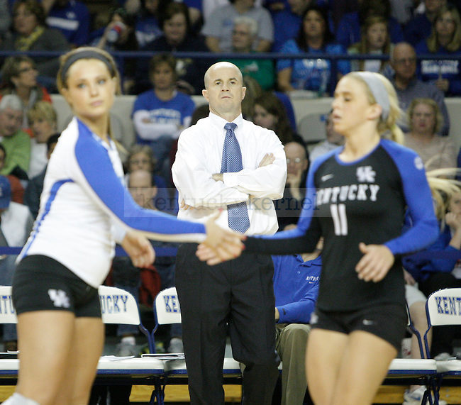 Coach Skinner watching his team during the UK women's volleyball game v. East Tennessee University during the NCAA tournament in Memorial Coliseum in Lexington, Ky., on Friday, November 30, 2012. Photo by Genevieve Adams | Staff