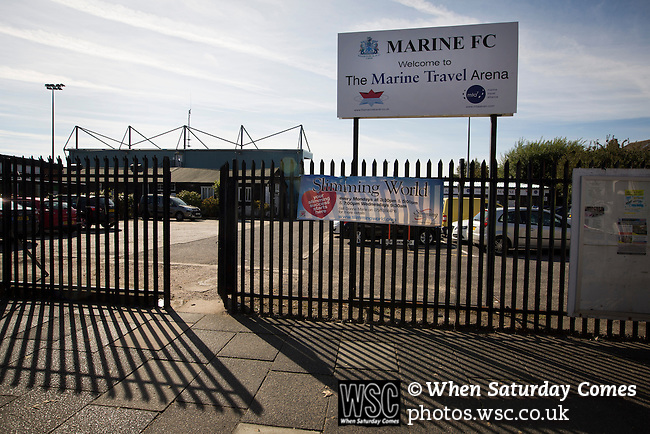 Marine 3 Ilkeston FC 1, 19/09/2015. The Mersey Travel Arena, Northern Premier League. The Mersey Travel Arena, home to Marine Football Club, pictured before they played host to Ilkeston FC in a Northern Premier League premier division match. The match was won by the home side by 3 goals to 1 and was watched by a crowd of 398. Marine are baed in Crosby, Merseyside and have played at Rossett Park (now the Mersey Travel Arena)  since 1903, the club having been formed in 1894.  Photo by Colin McPherson.
