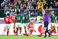 27th October 2019, Oita, Japan;  Josh Adams (WAL) looks up at the referees arm signal as he goes over for a try; 2019 Rugby World Cup Semi-final match between Wales 16-19 South Africa at International Stadium Yokohama in Yokohama, Kanagawa, Japan.