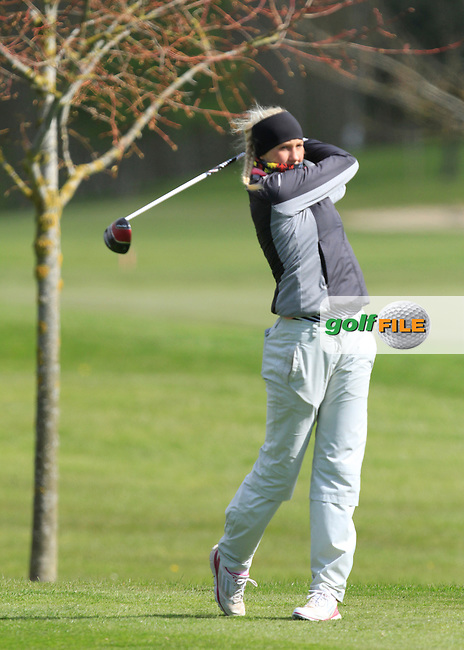 Ella Stromfelt (SWE) on the 13th tee during Round 1 of The Irish Girls Open Strokeplay Championship in Roganstown Golf Club on Saturday 18th April 2015.<br /> Picture:  Thos Caffrey / www.golffile.ie