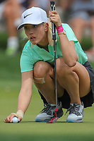 Michelle Wie lines up her putt on the 9th green during Round 3 at the ANA Inspiration, Mission Hills Country Club, Rancho Mirage, Calafornia, USA. {03/31/2018}.<br />