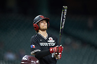 Kyle Lovelace (34) of the Houston Cougars checks his bat as he gets ready to step into the batters box during the game against the Mississippi State Bulldogs in game six of the 2018 Shriners Hospitals for Children College Classic at Minute Maid Park on March 3, 2018 in Houston, Texas. The Bulldogs defeated the Cougars 3-2 in 12 innings. (Brian Westerholt/Four Seam Images)