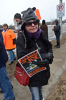 Deb Abrams, of Sarnia. A group of about 30 placard carrying protesters took part in a Justice for Joe rally at the Provincial Court Building.