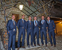 Switserland, Gen&egrave;ve, September 16, 2015, Tennis,   Davis Cup, Switserland-Netherlands, location of the official diner Clos Du Chateau, Dutch team Ltr: Captain Jan Siemerink, Thiemo de Bakker, Tallon Griekspoor, Tim van Rijthoven, Matwe Middelkoop and Jesse Huta Galung<br /> Photo: Tennisimages/Henk Koster