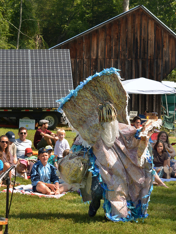 """A moment captured from the ARM-of-the-SEA Theater's performance of """"DIRT: THE SECRET LIFE OF SOIL,"""" at the Fifth Annual SUMMER HOOT Festival, held at the Ashokan Center, Olivebridge, NY, on Sunday, August 27, 2017. Photo by Jim Peppler. Copyright/Jim Peppler-2017."""
