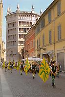 Fiesta near the Baptistry and Duomo - Piazza Del Duomo - Parma Italy.