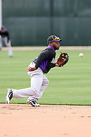Eric Young Jr of the Colorado Rockies participates in spring training workouts at Salt River Fields on February 26, 2011  in Scottsdale, Arizona. .Photo by:  Bill Mitchell/Four Seam Images.