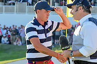 Rickie Fowler (USA) is interviewed by David Feherty following  round 4 Singles of the 2017 President's Cup, Liberty National Golf Club, Jersey City, New Jersey, USA. 10/1/2017. <br /> Picture: Golffile | Ken Murray<br /> <br /> All photo usage must carry mandatory copyright credit (&copy; Golffile | Ken Murray)