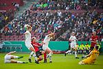 01.05.2019, RheinEnergie Stadion , Köln, GER, 1.FBL, Borussia Dortmund vs FC Schalke 04, DFB REGULATIONS PROHIBIT ANY USE OF PHOTOGRAPHS AS IMAGE SEQUENCES AND/OR QUASI-VIDEO<br /> <br /> im Bild | picture shows:<br /> Klara Buehl (SC Freiburg Frauen #21) setzt sich gegen Nilla Fischer (VfL Wolfsburg #4) durch und kommt zum Torschuss der von Almuth Schult (VfL Wolfsburg #1) pariert wird, <br /> <br /> Foto © nordphoto / Rauch