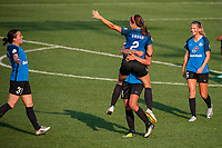 Kansas City, MO - Sunday September 3, 2017: celebrate, celebration, Christina Gibbons, Shea Groom, Sydney Leroux Dwyer, Katie Bowen during a regular season National Women's Soccer League (NWSL) match between FC Kansas City and Sky Blue FC at Children's Mercy Victory Field.