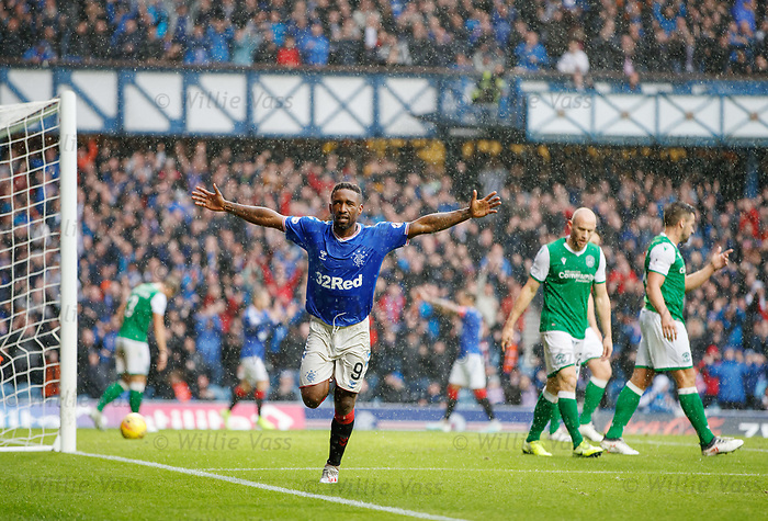 11.08.2019 Rangers v Hibs: Jermain Defoe celebrates his third goal