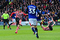 Lincoln City's Tom Pett scores the opening goal<br /> <br /> Photographer Andrew Vaughan/CameraSport<br /> <br /> The EFL Sky Bet League Two - Lincoln City v Crewe Alexandra - Saturday 6th October 2018 - Sincil Bank - Lincoln<br /> <br /> World Copyright &copy; 2018 CameraSport. All rights reserved. 43 Linden Ave. Countesthorpe. Leicester. England. LE8 5PG - Tel: +44 (0) 116 277 4147 - admin@camerasport.com - www.camerasport.com