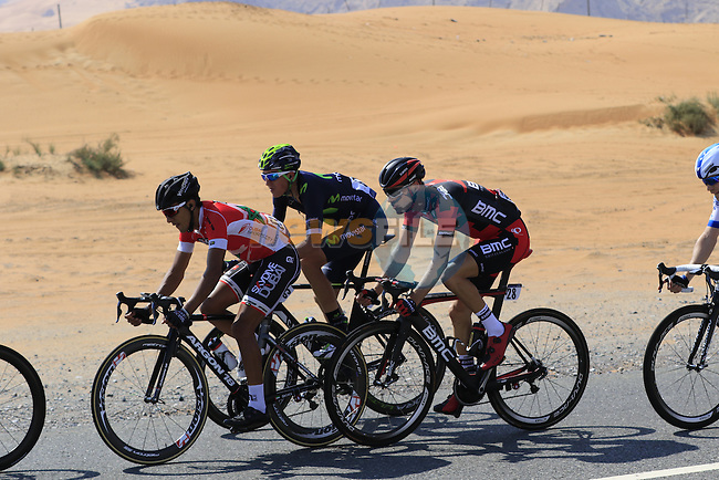 The breakaway group ride through desert landscape of Jebel Maleihah during Stage 1, the Dubai Silicon Oasis Stage, of the 2016 Dubai Tour starting at the Dubai International Marine Club and running 175km to Fujairah, Mina Seyahi, Dubai, United Arab Emirates. 3rd February 2016.<br /> Picture: Eoin Clarke | Newsfile<br /> <br /> <br /> All photos usage must carry mandatory copyright credit (&copy; Newsfile | Eoin Clarke)