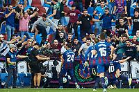 2nd November 2019; Estadi Ciutat de Valencia, Valencia, Spain; La Liga Football, Levante versus FC Barcelona; Jose Campaña of Levante UD celebrates with his team mates after scoring the equalizer goal (1-1) in minute 60' - Editorial Use