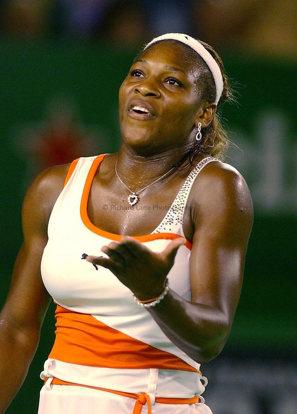 Photo. .Australian Open Tennis 2003.25/01/2003.Serena Williams v Venus Williams  Final.Serena Williams