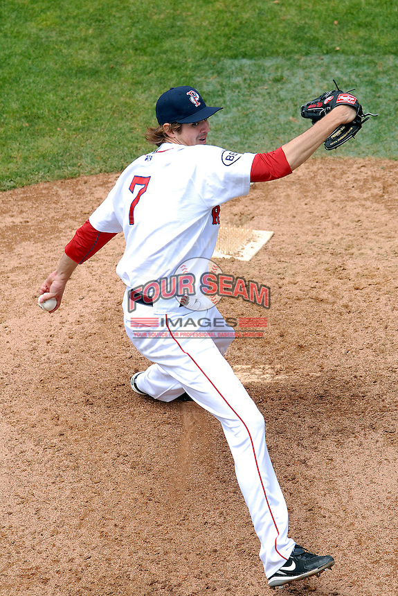 Pitcher Andrew Miller #7 of the Pawtucket Red Sox during a game versus the Gwinnett Braves on May 12, 2011 at McCoy Stadium in Pawtucket, Rhode Island. Photo by Ken Babbitt /Four Seam Images