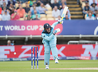 Jason Roy (England) takes a blow from a short Mitchell Starc (Australia) delivery during Australia vs England, ICC World Cup Semi-Final Cricket at Edgbaston Stadium on 11th July 2019