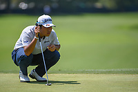 Hideki Matsuyama (JPN) lines up his putt on 8 during 3rd round of the 100th PGA Championship at Bellerive Country Club, St. Louis, Missouri. 8/11/2018.<br /> Picture: Golffile | Ken Murray<br /> <br /> All photo usage must carry mandatory copyright credit (&copy; Golffile | Ken Murray)
