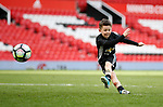 Kai Rooney eldest son of Wayne Rooney takes a shot on goal during the English Premier League match at the Old Trafford Stadium, Manchester. Picture date: May 21st 2017. Pic credit should read: Simon Bellis/Sportimage