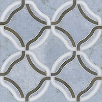 Kelly, a stone water jet mosaic, shown in Calacatta Tia, Montevideo, and Celeste, is part of the Ann Sacks Beau Monde collection sold exclusively at www.annsacks.com