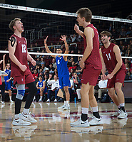 STANFORD, CA - March 2, 2019: Jordan Ewert, Stephen Moye, Kyler Presho at Maples Pavilion. The Stanford Cardinal defeated BYU 25-20, 25-20, 22-25, 25-21.