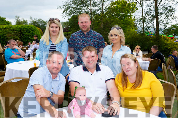 Enjoying  the Dairymaster 50th Anniversary BBQ in the Ballygarry Hotel on Sunday.. Seated l-r, Joe White, Brendan and Kathleen O'Keeffe, Cathy Prendergast, Padraig Hussey and Cathriona O'Brien.