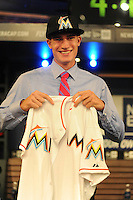 Pitcher Andrew Heaney (Oklahoma State) the number nine overall pick to the Miami Marlins during the MLB Draft on Monday June 04,2012 at Studio 42 in Secaucus, NJ.   (Tomasso DeRosa / Four Seam Images)