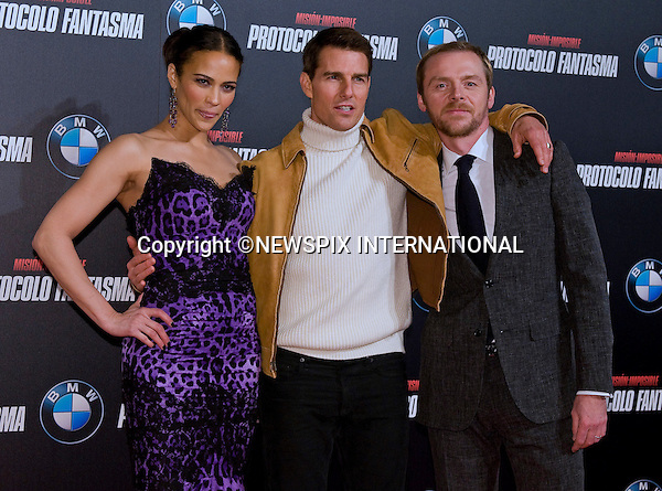 "PAULA PATTON, TOM CRUISE AND SIMON PEGG.attend the premiere of his latest film 'Mission: Impossible - Ghost Protocol'Madrid, Spain_12/12/2011.Mandatory Credit Photo: ©NEWSPIX INTERNATIONAL..                 **ALL FEES PAYABLE TO: ""NEWSPIX INTERNATIONAL""**..IMMEDIATE CONFIRMATION OF USAGE REQUIRED:.Newspix International, 31 Chinnery Hill, Bishop's Stortford, ENGLAND CM23 3PS.Tel:+441279 324672  ; Fax: +441279656877.Mobile:  07775681153.e-mail: info@newspixinternational.co.uk"