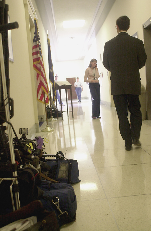 Lazio R.3(DG) 051900 -- T.V. crews and reporters wait outside of Rick Lazio's office in the rayburn house Office Building.