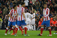 11.04.2012 MADRID, SPAIN - La Liga match played between At. Madrid vs Real Madrid (1-4) with hat-trick of Cristiano Ronaldo at Vicente Calderon stadium. The picture show  Real Madrid CF players celebrating his team's goal