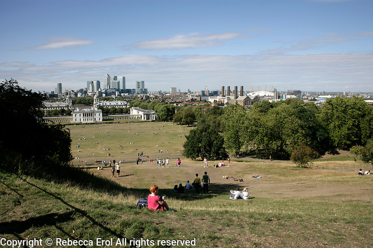 Greenwich Park, southeast London, UK: views of the Queens House and Docklands in the distance