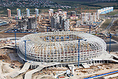 25th October 2017, Sardansk, Russia; View of the construction site of the Mordovia Arena from above in Sardansk, Russia, 25 August 2017. The city is one of the playing sites for the FIFA World Cup 2018 in Russia.