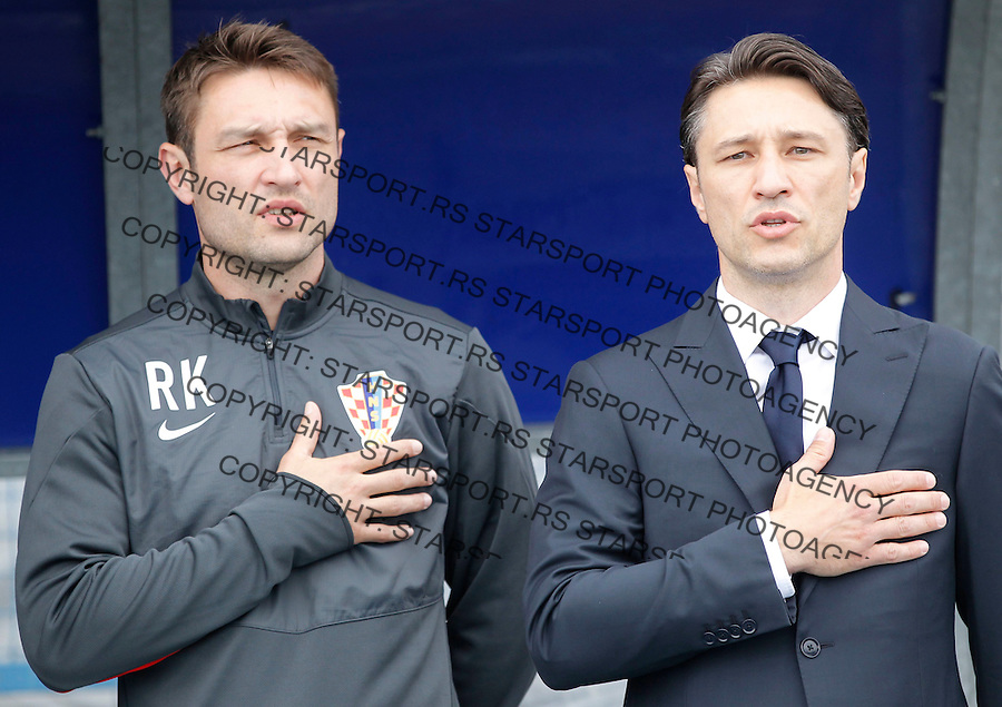 Fudbal Soccer<br /> Preparations for World Cup 2014 <br /> Croatia v Mali<br /> Head coach Niko Kovac (R) and assistant coach Robert Kovac<br /> Osijek, 05.31.2014<br /> foto: Srdjan Stevanovic/Starsportphoto &copy;